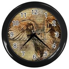 Vintage owl Wall Clocks (Black)