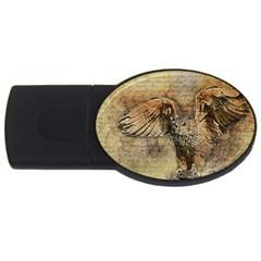 Vintage owl USB Flash Drive Oval (1 GB)