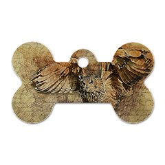 Vintage owl Dog Tag Bone (Two Sides)