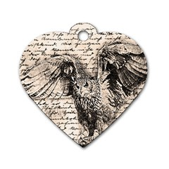 Vintage owl Dog Tag Heart (Two Sides)