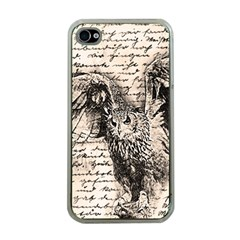 Vintage owl Apple iPhone 4 Case (Clear)