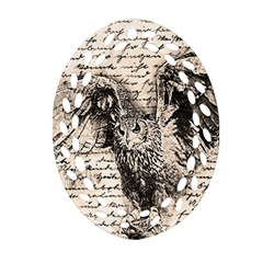 Vintage owl Oval Filigree Ornament (Two Sides)