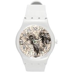 Vintage owl Round Plastic Sport Watch (M)