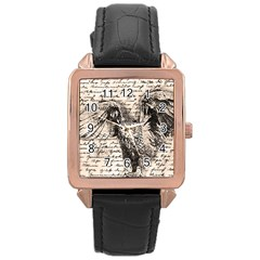 Vintage owl Rose Gold Leather Watch