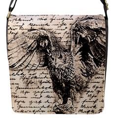 Vintage owl Flap Messenger Bag (S)