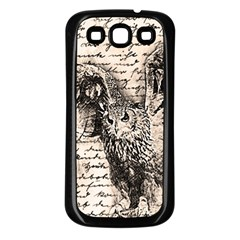 Vintage owl Samsung Galaxy S3 Back Case (Black)