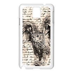 Vintage owl Samsung Galaxy Note 3 N9005 Case (White)