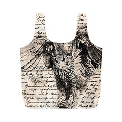 Vintage owl Full Print Recycle Bags (M)