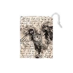 Vintage owl Drawstring Pouches (Small)