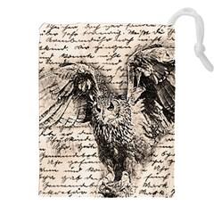 Vintage owl Drawstring Pouches (XXL)