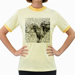 Vintage owl Women s Fitted Ringer T-Shirts