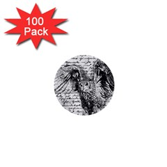 Vintage owl 1  Mini Buttons (100 pack)