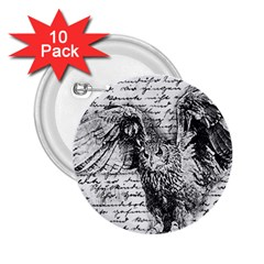 Vintage owl 2.25  Buttons (10 pack)