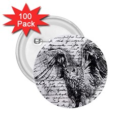 Vintage owl 2.25  Buttons (100 pack)