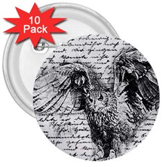 Vintage owl 3  Buttons (10 pack)