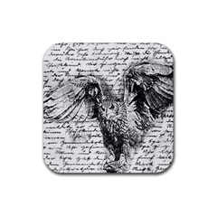 Vintage owl Rubber Square Coaster (4 pack)