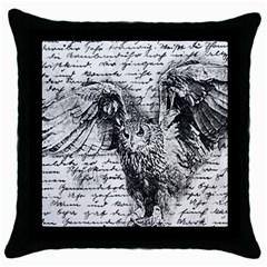 Vintage owl Throw Pillow Case (Black)