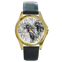 Vintage owl Round Gold Metal Watch