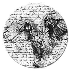 Vintage owl Magnet 5  (Round)