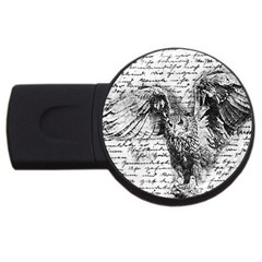 Vintage owl USB Flash Drive Round (2 GB)