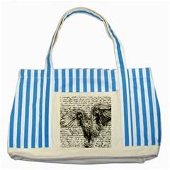 Vintage owl Striped Blue Tote Bag
