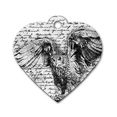Vintage owl Dog Tag Heart (One Side)