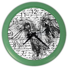 Vintage owl Color Wall Clocks