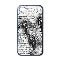 Vintage owl Apple iPhone 4 Case (Black)