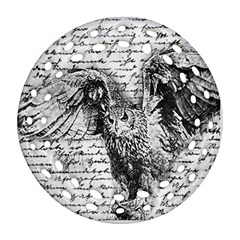 Vintage owl Round Filigree Ornament (Two Sides)