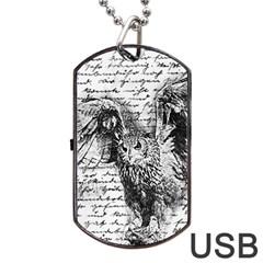 Vintage owl Dog Tag USB Flash (One Side)