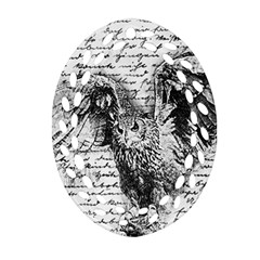 Vintage owl Ornament (Oval Filigree)