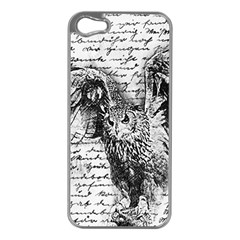 Vintage owl Apple iPhone 5 Case (Silver)