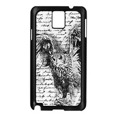 Vintage owl Samsung Galaxy Note 3 N9005 Case (Black)