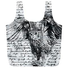 Vintage owl Full Print Recycle Bags (L)