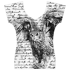 Vintage owl Women s V-Neck Cap Sleeve Top