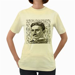 Nikola Tesla Women s Yellow T-Shirt