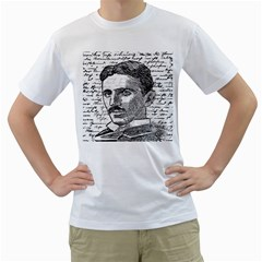 Nikola Tesla Men s T-Shirt (White) (Two Sided)