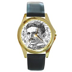 Nikola Tesla Round Gold Metal Watch