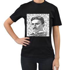 Nikola Tesla Women s T-Shirt (Black) (Two Sided)