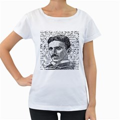 Nikola Tesla Women s Loose-Fit T-Shirt (White)