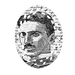Nikola Tesla Oval Filigree Ornament (Two Sides)