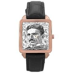 Nikola Tesla Rose Gold Leather Watch