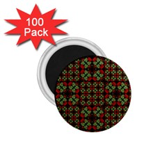 Asian Ornate Patchwork Pattern 1.75  Magnets (100 pack)