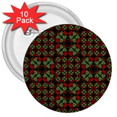 Asian Ornate Patchwork Pattern 3  Buttons (10 pack)