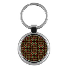 Asian Ornate Patchwork Pattern Key Chains (Round)