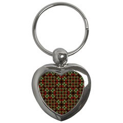 Asian Ornate Patchwork Pattern Key Chains (Heart)