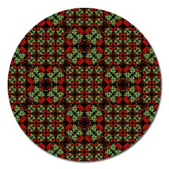 Asian Ornate Patchwork Pattern Magnet 5  (Round)