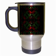 Asian Ornate Patchwork Pattern Travel Mug (Silver Gray)