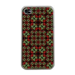 Asian Ornate Patchwork Pattern Apple iPhone 4 Case (Clear)