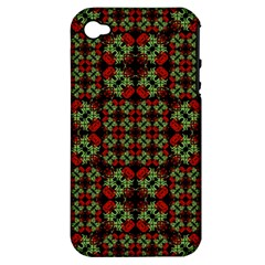 Asian Ornate Patchwork Pattern Apple iPhone 4/4S Hardshell Case (PC+Silicone)